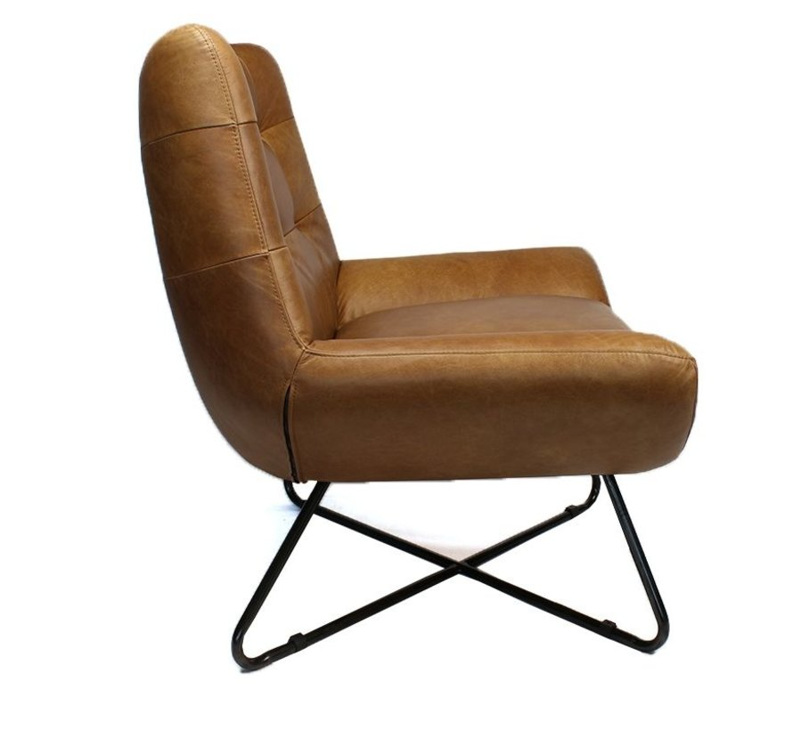 Industriële fauteuil Cole cognac leer