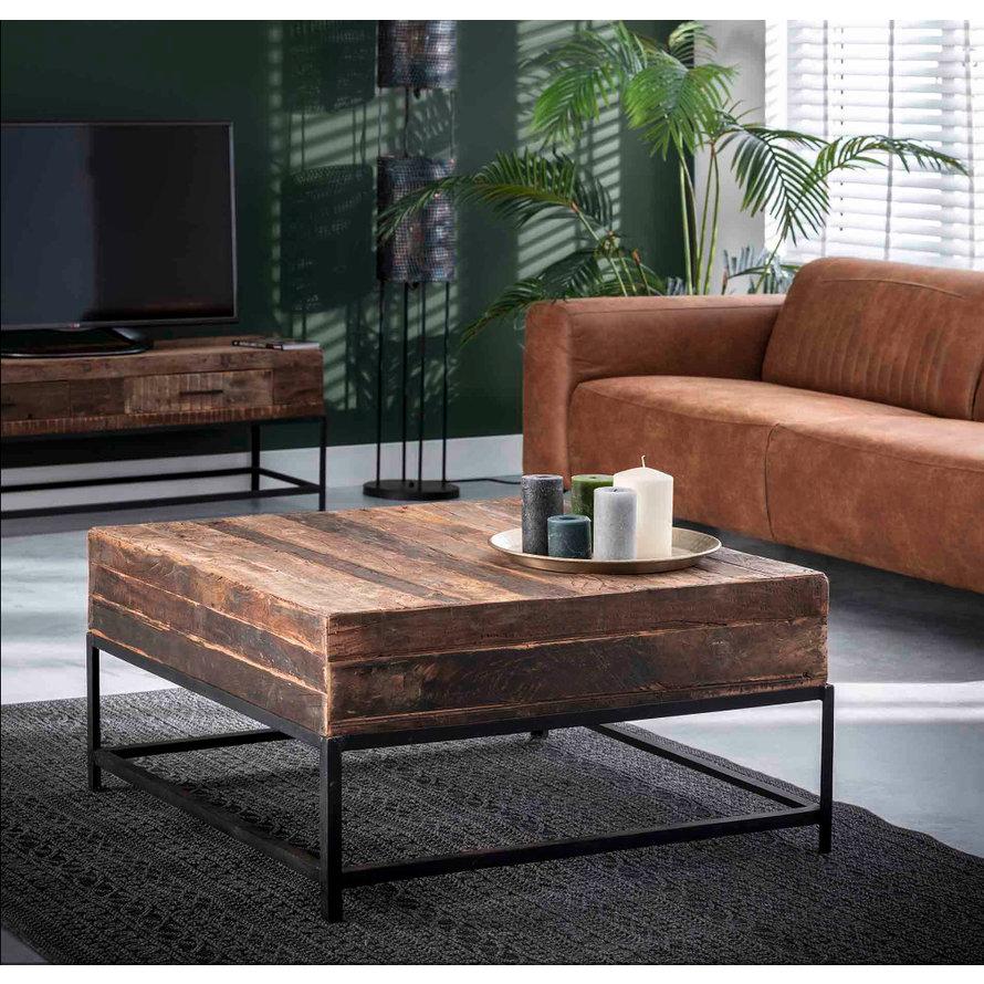 Industriële salontafel Rense vierkant 90 x 90 cm