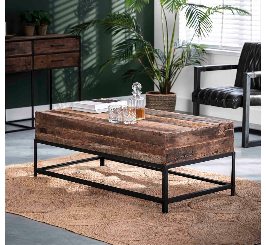Industriële salontafel Rense 120 x 60 cm hout