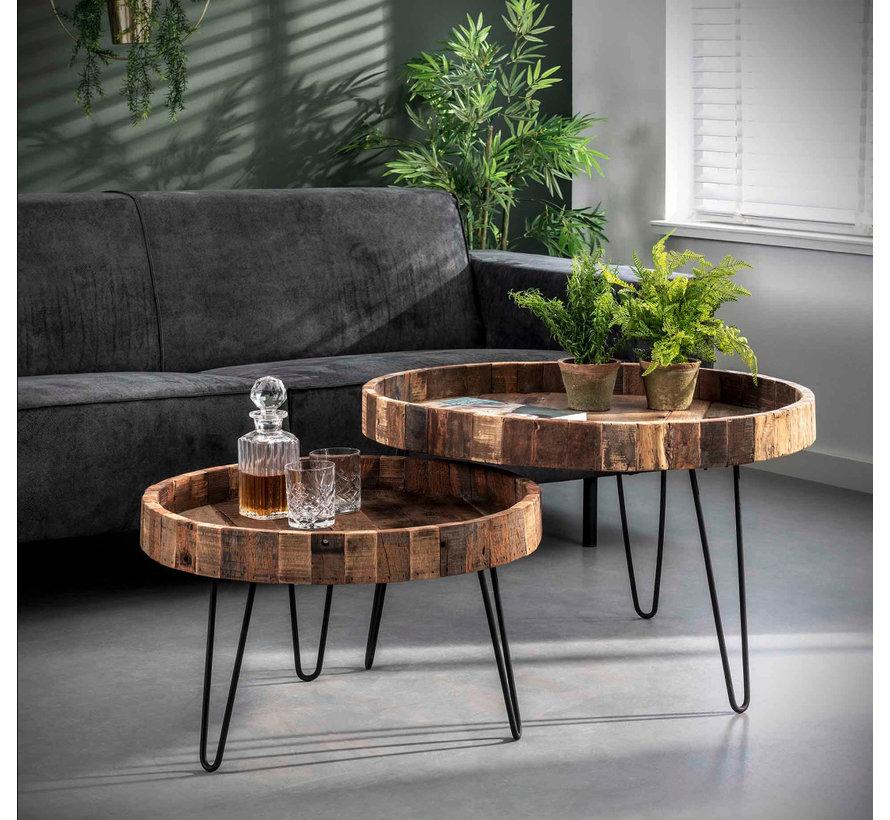 Industriële salontafel set Rense hout(set van 2)