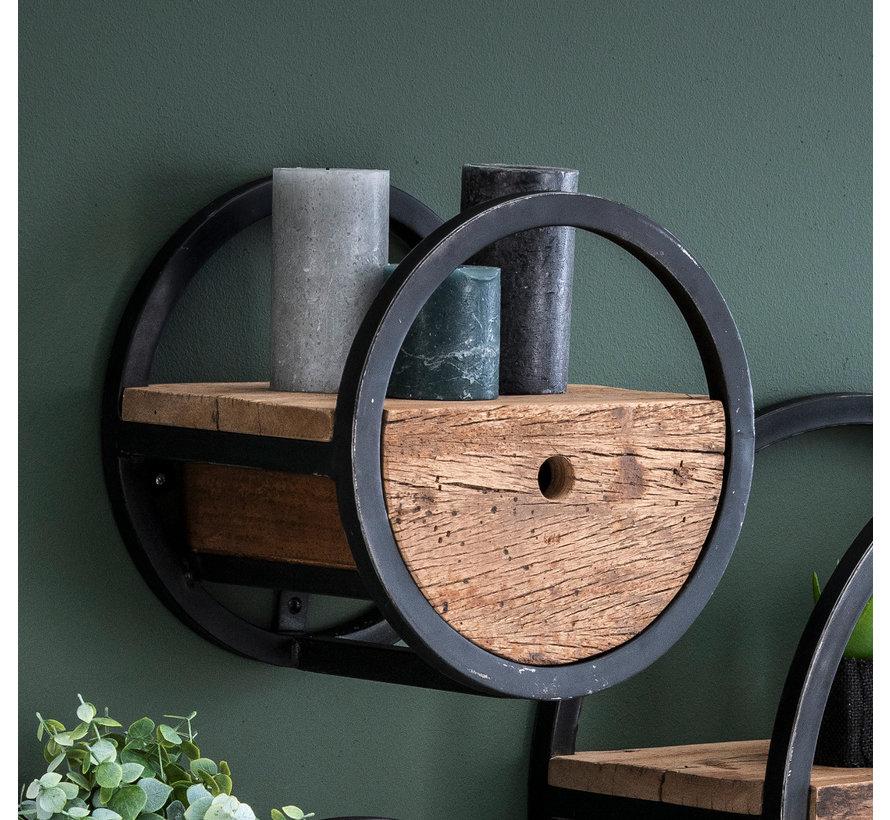 Industrieel wandrek hardhout en metaal Landon Ø30 cm met lade