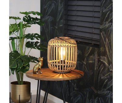 Industriële tafellamp Row 1-lichts rotan