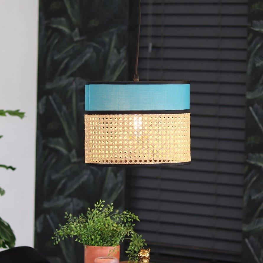 Hanglamp blauw Diaz 1-lichts rotan/metaal