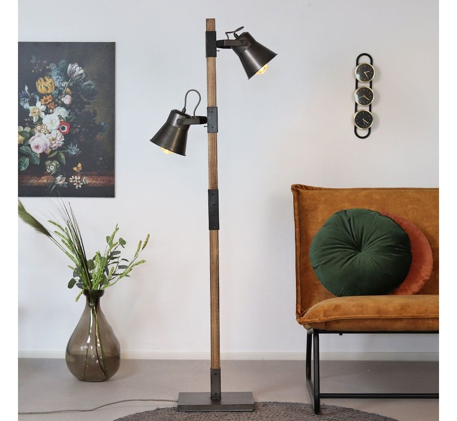 Industriële vloerlamp Parker 2-lichts hout/metaal