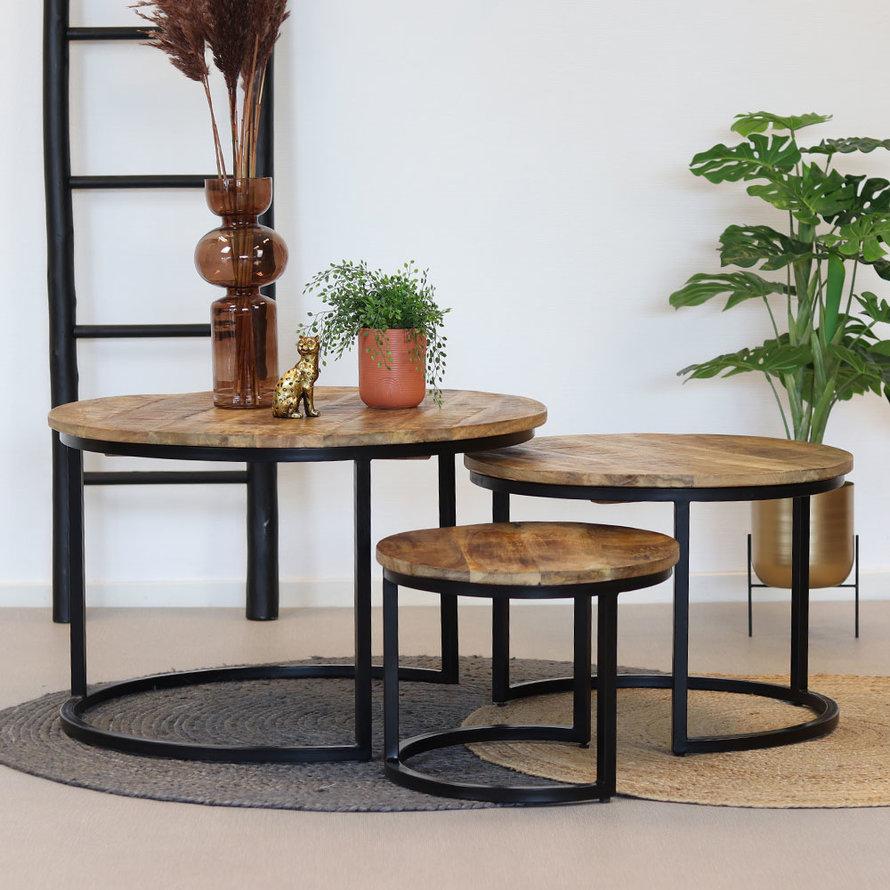 Industriële salontafel set Lucy mangohout (set van 3)