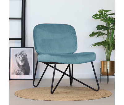 Bronx71 Moderne fauteuil Julia Velvet blauw