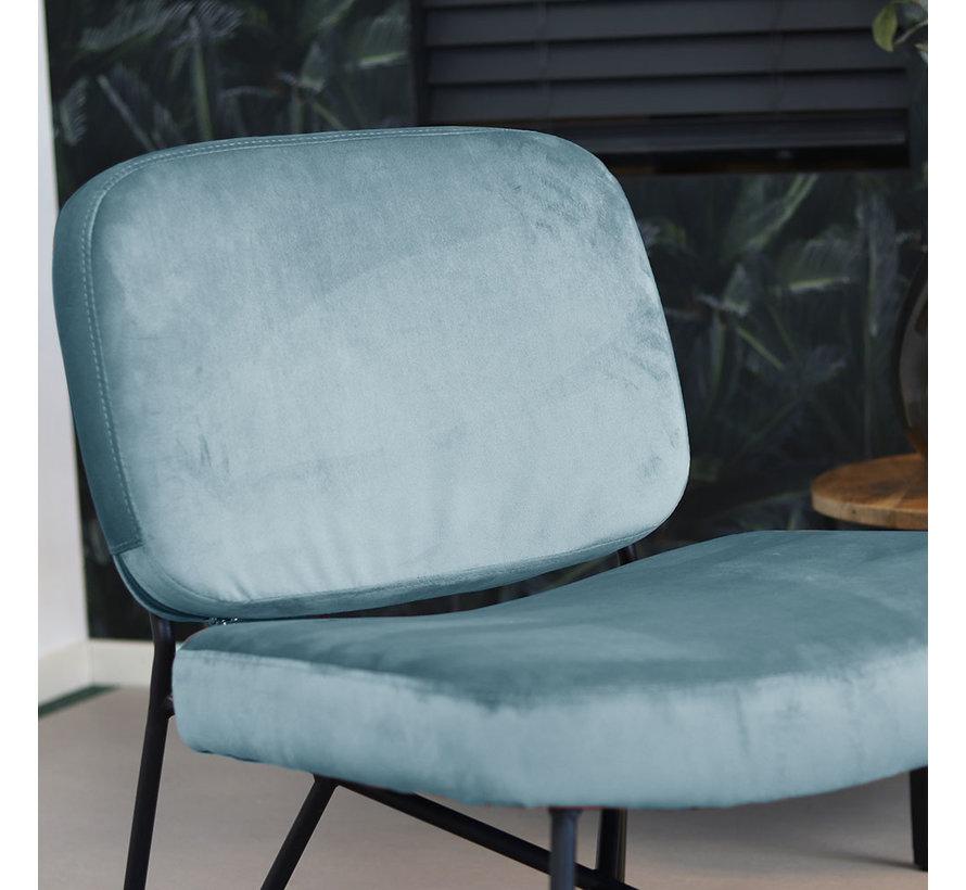 Moderne fauteuil Julia Velvet blauw