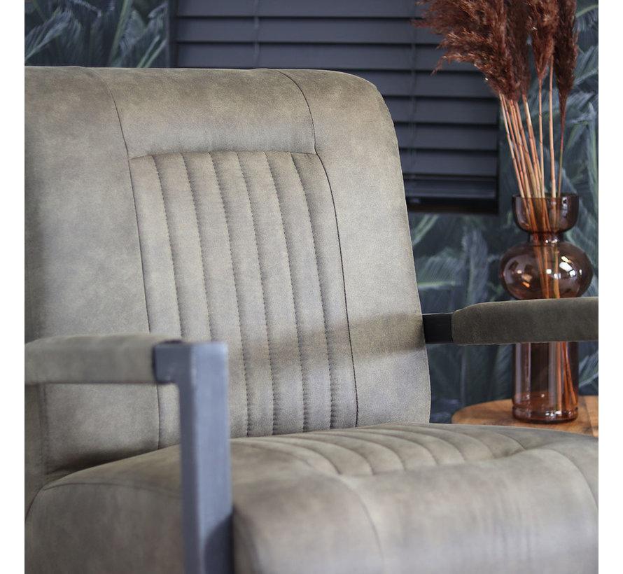 Industriële fauteuil Austin olijfgroen microvezel