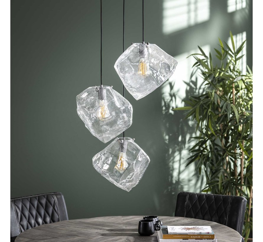Design hanglamp Toro glas 3-lichts