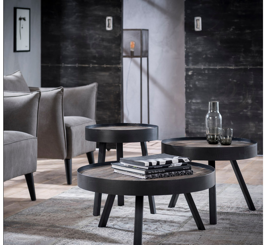 Industriële salontafel rond Taylor Ø60 cm teakhout