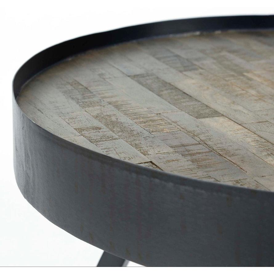 Industriële salontafel rond Taylor Ø45 cm teakhout