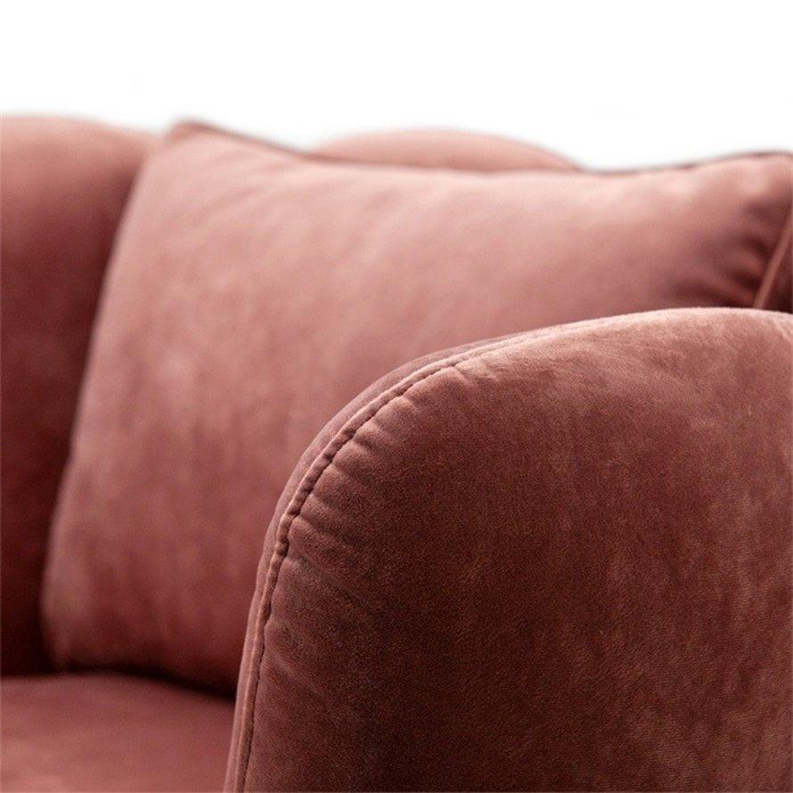 Velvet fauteuil Maria roze draaibaar