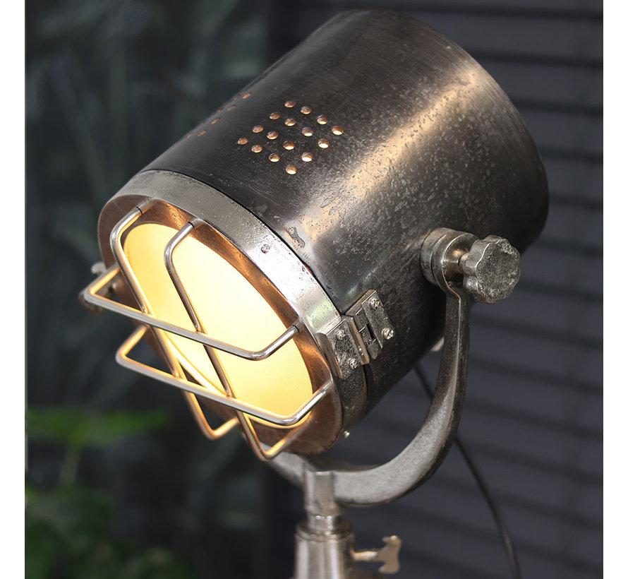 Industriële vloerlamp Chicago Raw nikkel