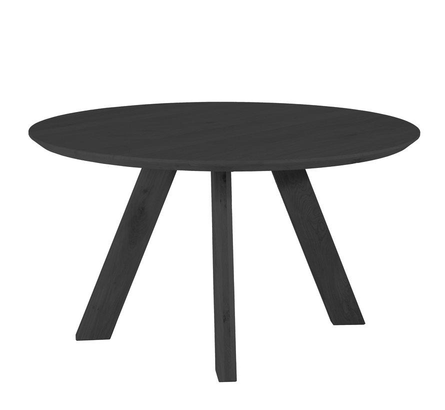 Eettafel eikenhout rond Ø140 cm zwart