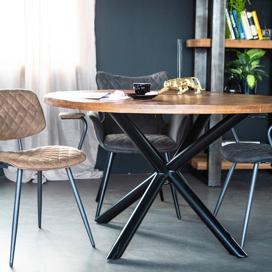 Eettafel rond Lily met kruispoot mangohout Ø130cm