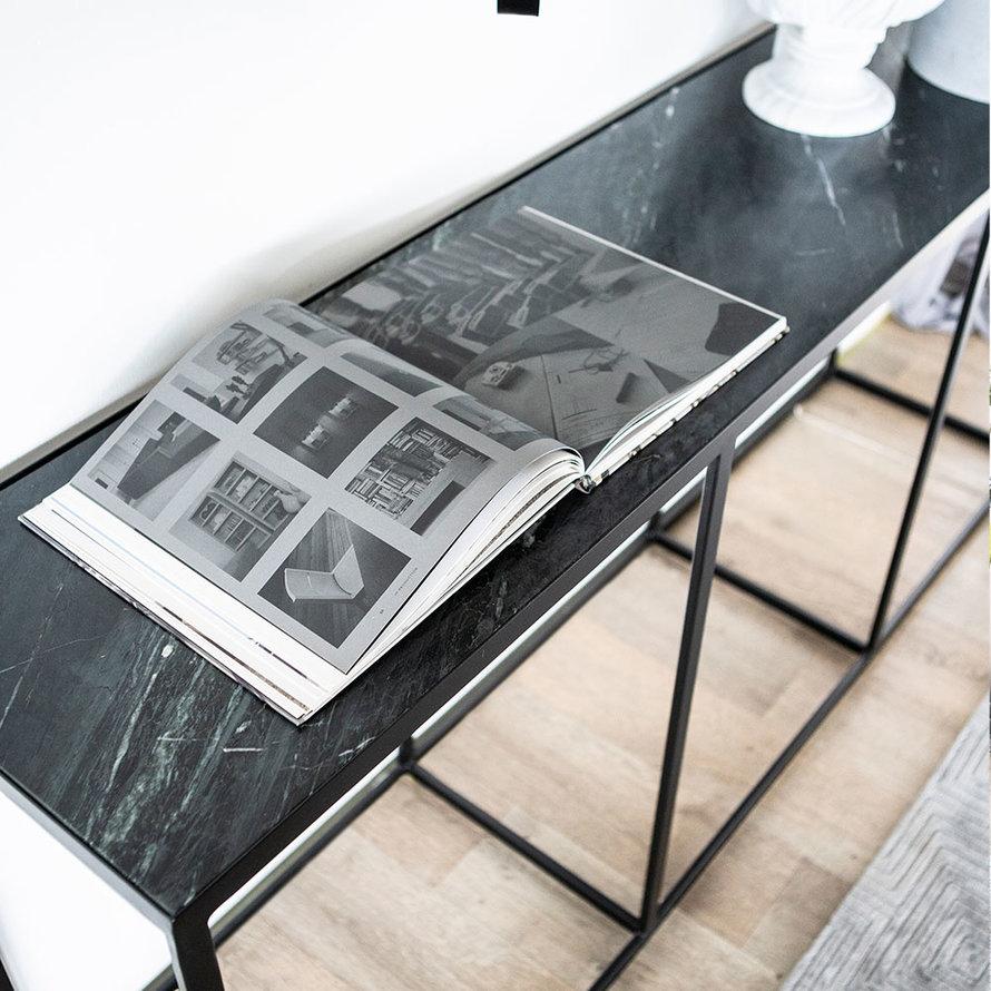 Wandtafel marmer 180x40 cm zwart