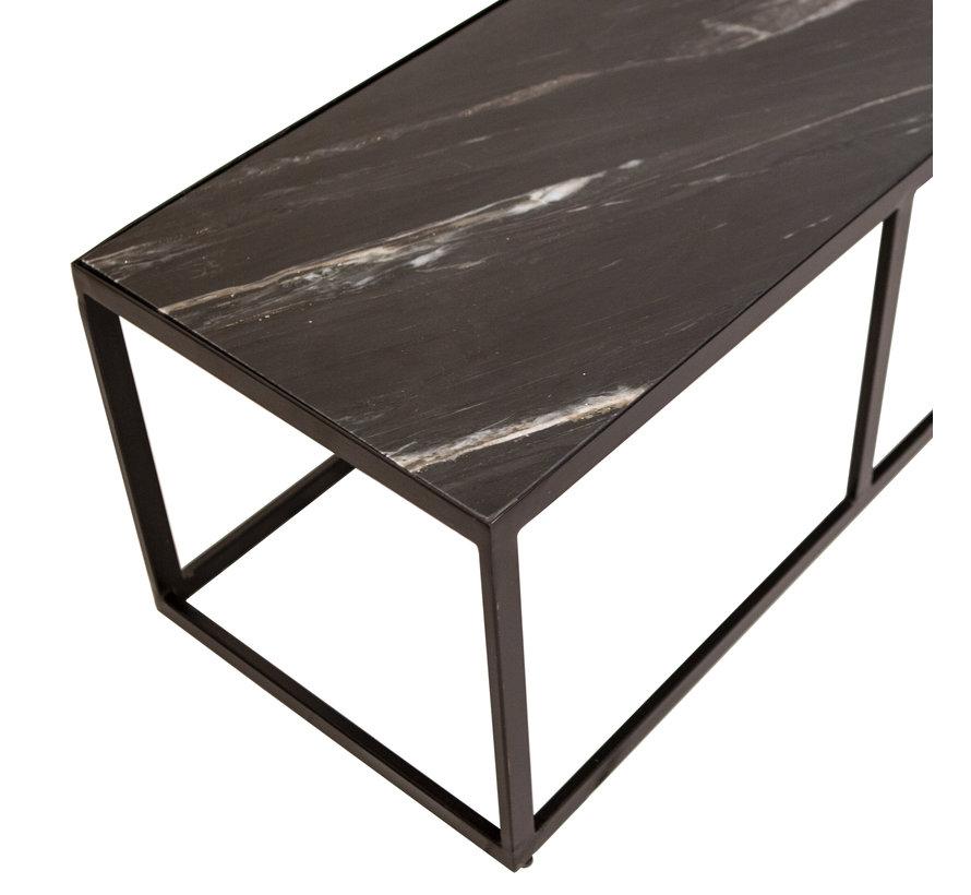 Salontafel marmer zwart 140x40 cm