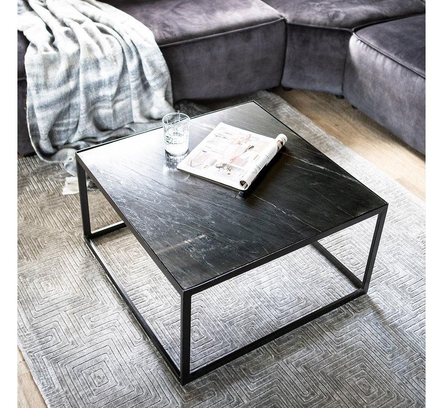 Salontafel marmer 70x70 cm zwart