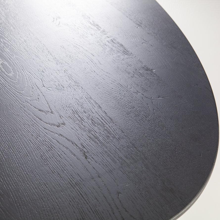 Industriële eetkamertafel ovaal eikenhout 300 x 120 zwart
