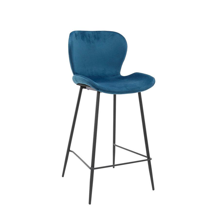 Velvet barkruk Eden blauw 67 cm