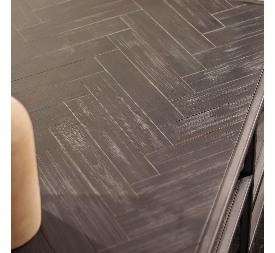 Salontafel Hudson 120x70 acaciahout zwart visgraat