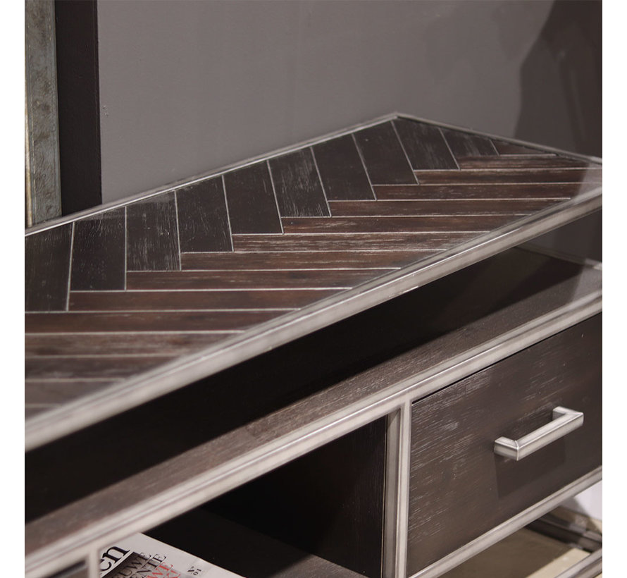 TV meubel Hudson acaciahout zwart 150 cm visgraat