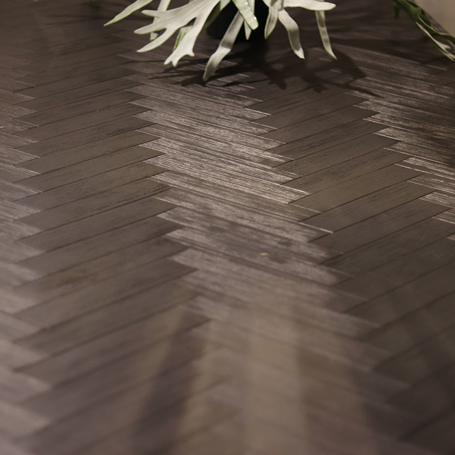 Eetkamertafel Hudson acaciahout zwart 200 x 100 cm visgraat