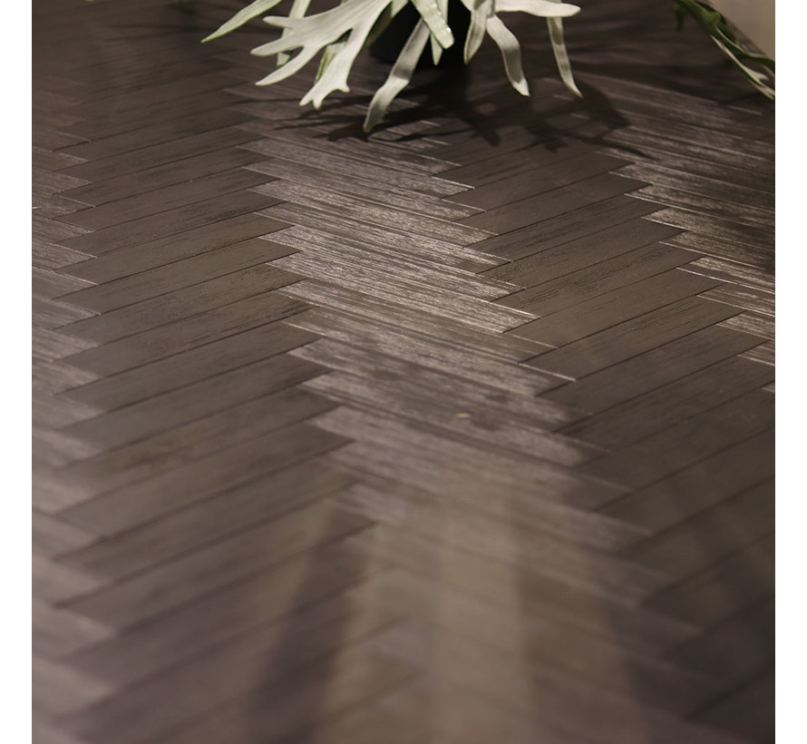 Eetkamertafel Hudson acaciahout zwart 160 x 90 cm visgraat