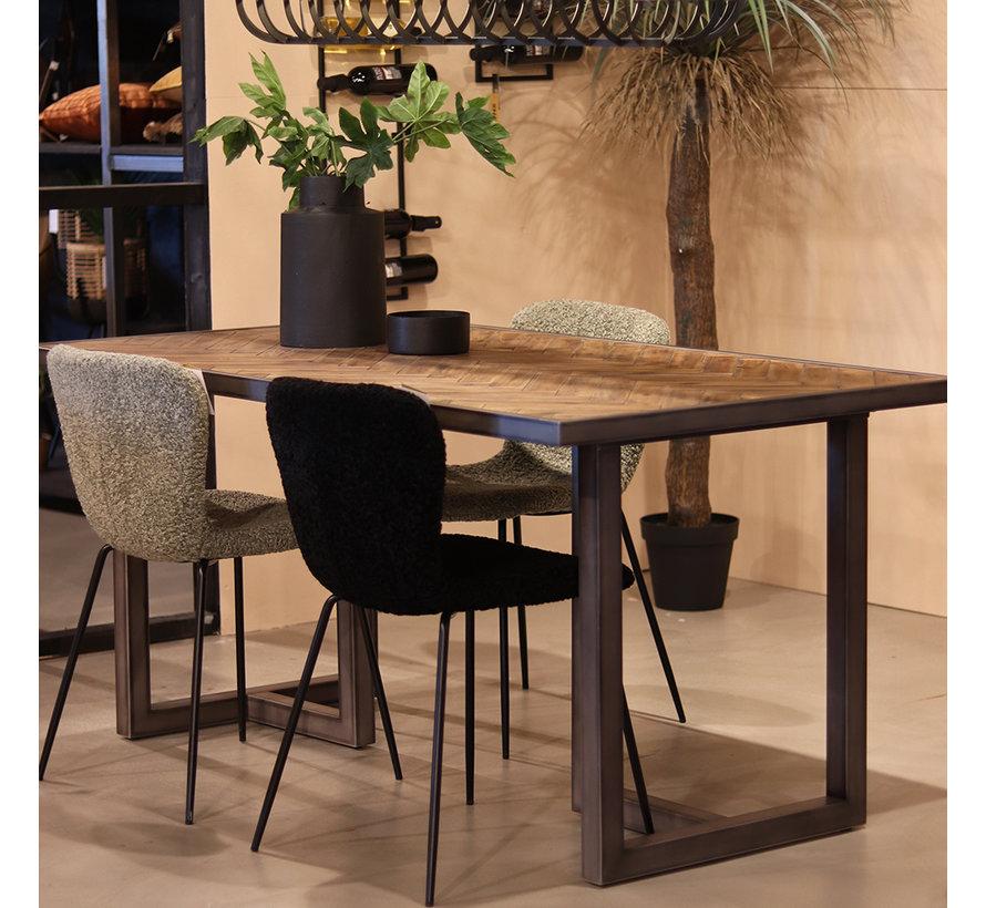 Eetkamertafel Hudson acaciahout bruin 160 x 90 cm visgraat