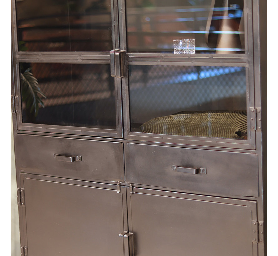 Wandkast industrieel Jada metaal glas 180 x 125 cm