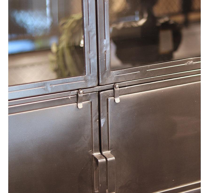 Wandkast industrieel Jada metaal glas 6 deurs