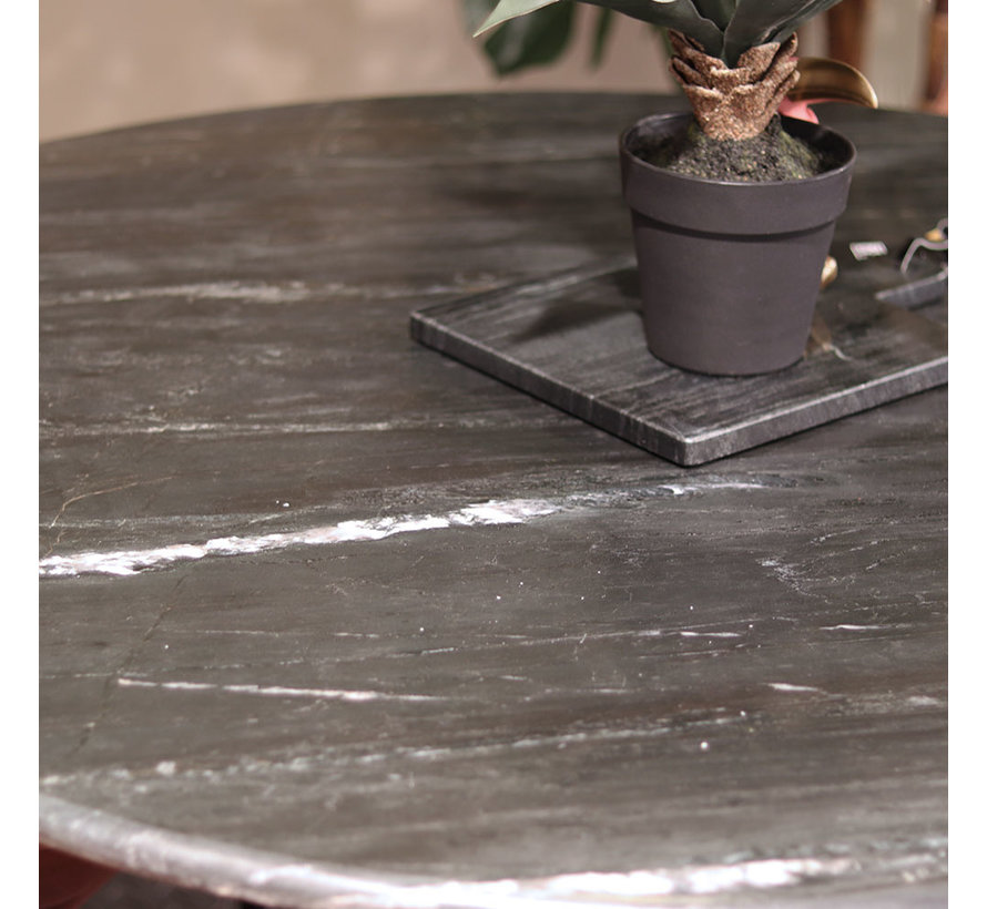 eettafel marmer rond zwart 120x76 cm