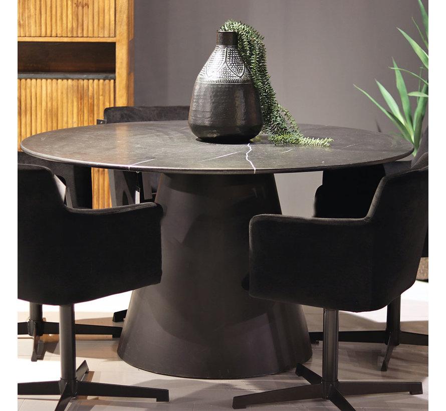 Eettafel marmer rond 137x76 cm zwart