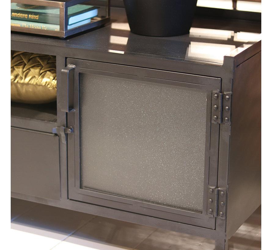 Tv-meubel industrieel Jada metaal 2drs. 1 lade