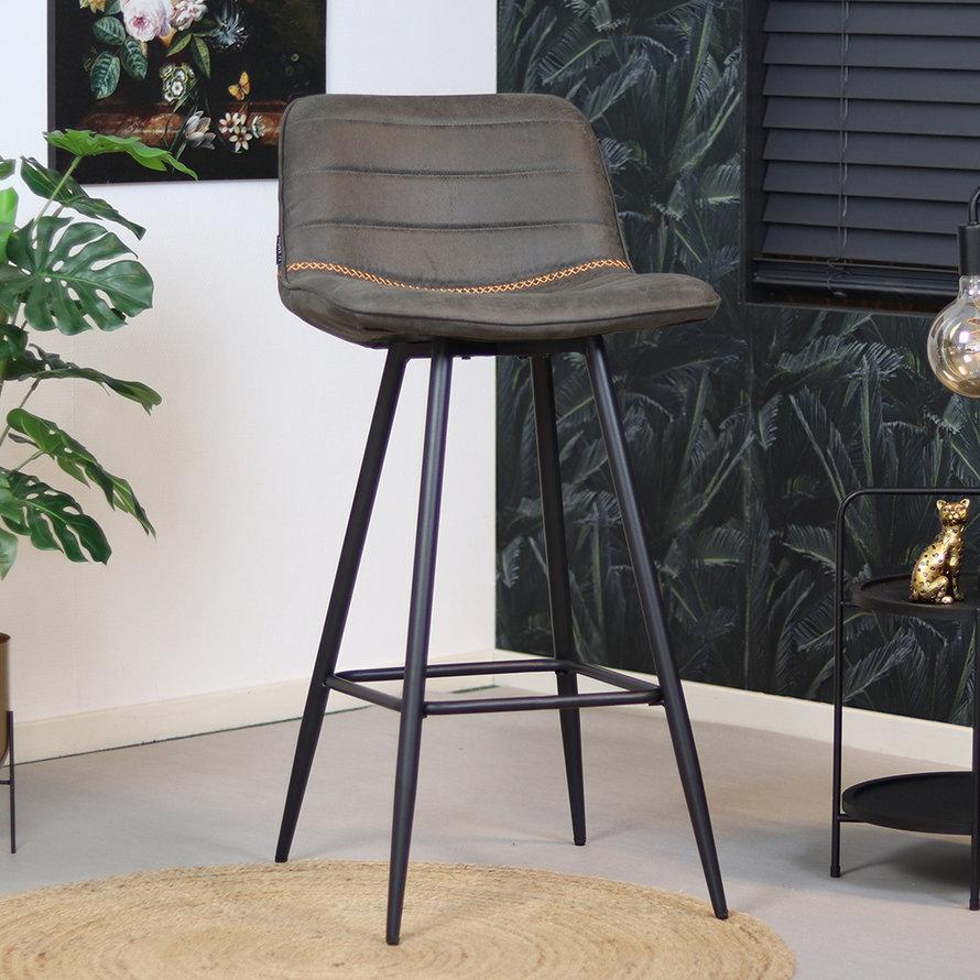 Industriële barstoel Jackson antraciet leer 73 cm