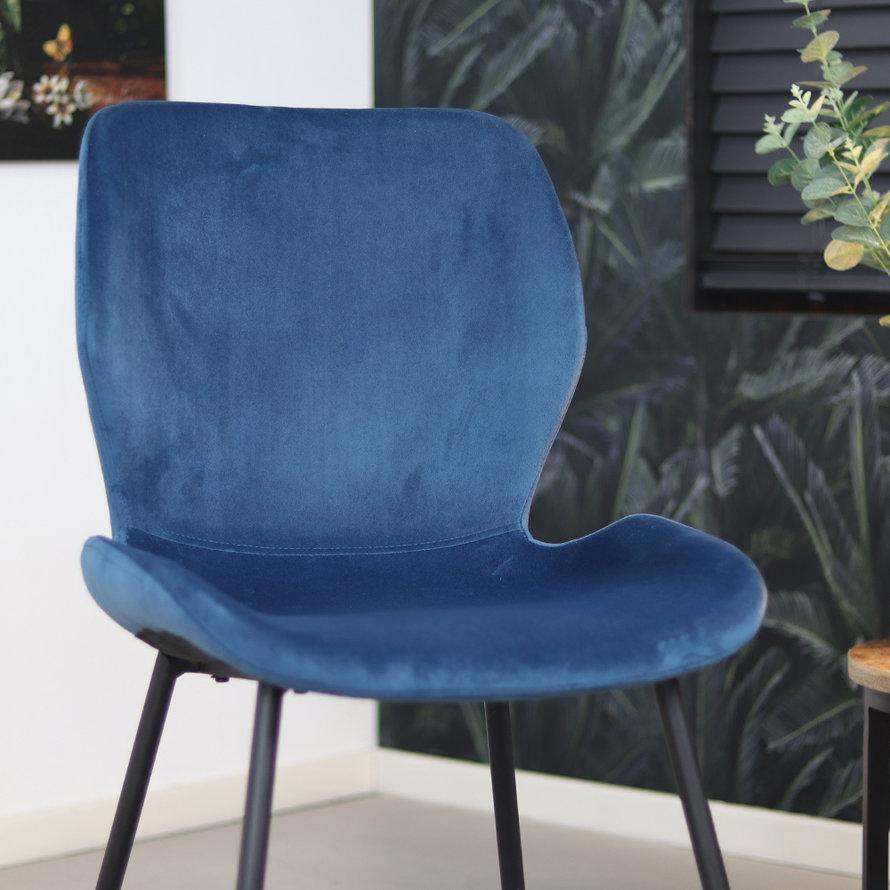 Velvet eetkamerstoel Eden blauw