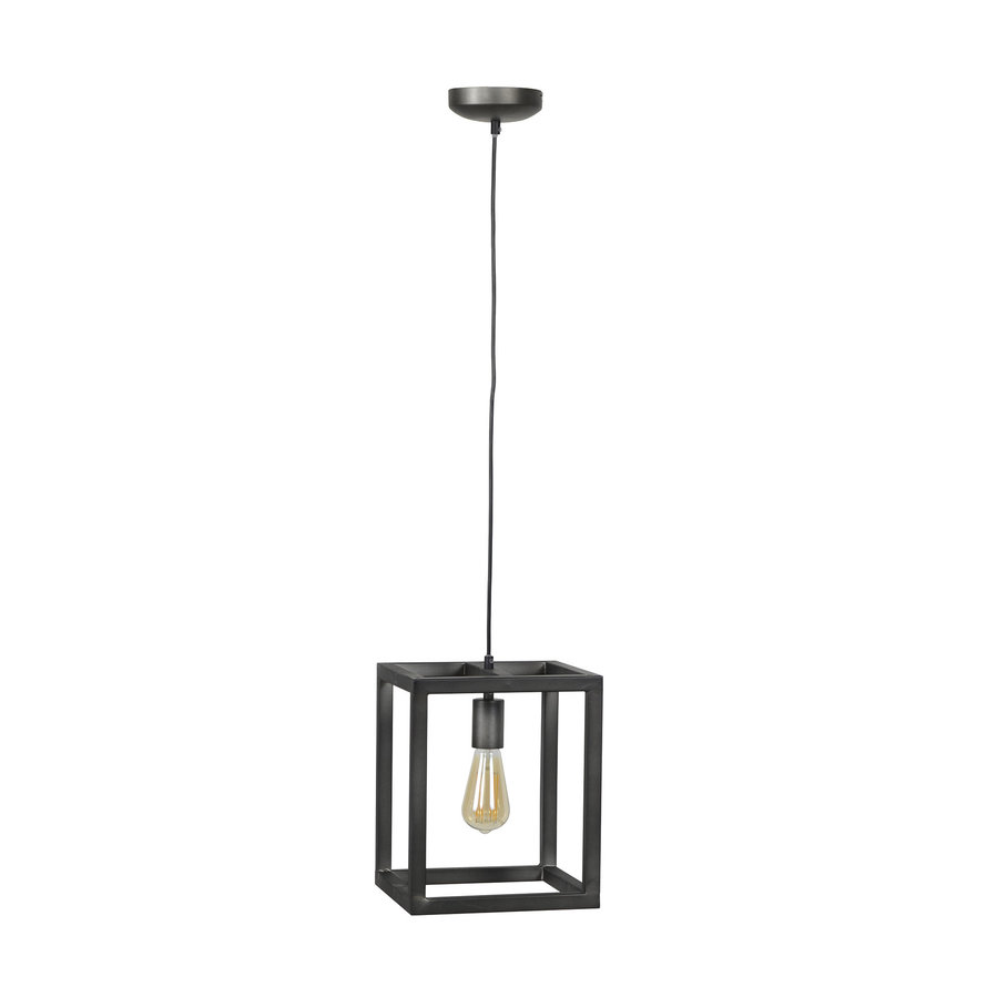 Industriële hanglamp George vierkant zilver 1-lichts