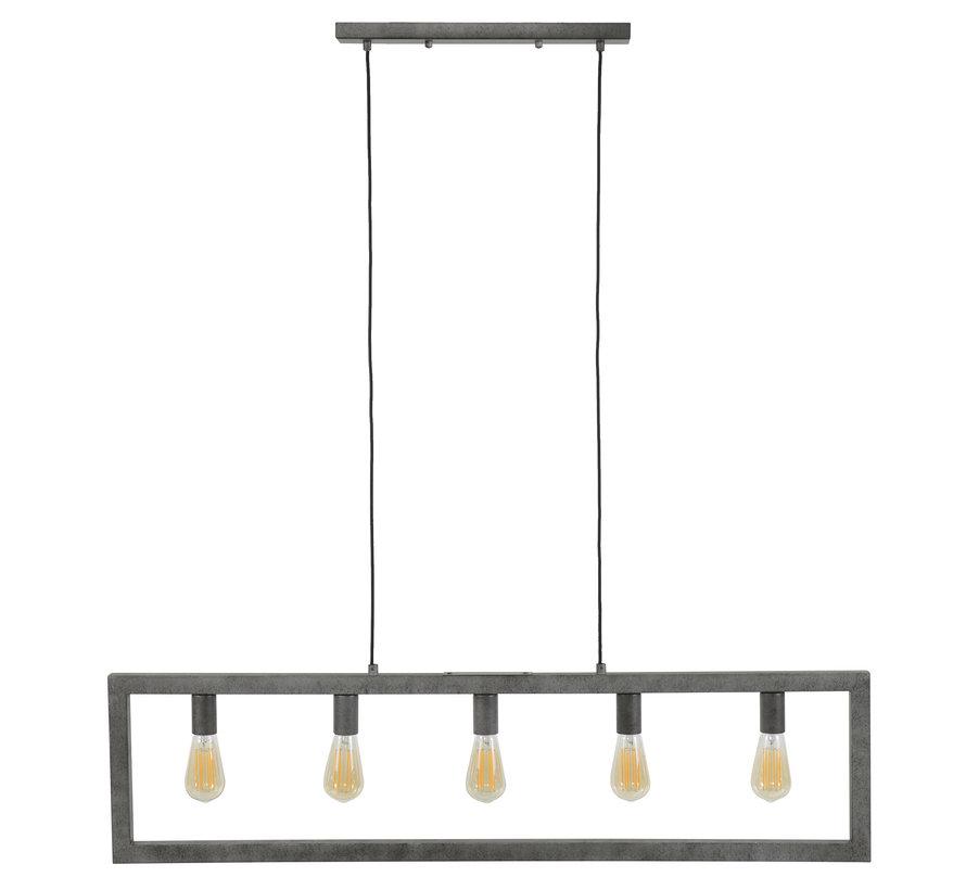 Industriële hanglamp Jordan 5-lichts oud zilver
