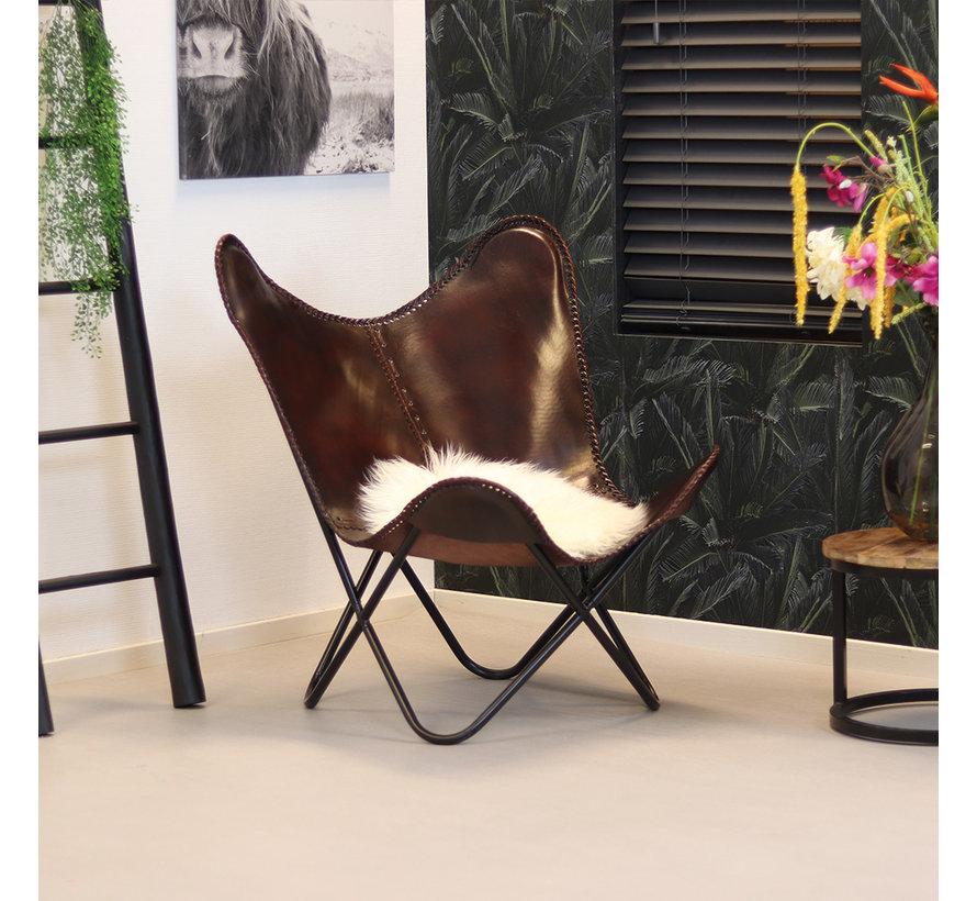 Vlinderstoel Livin bruin leer