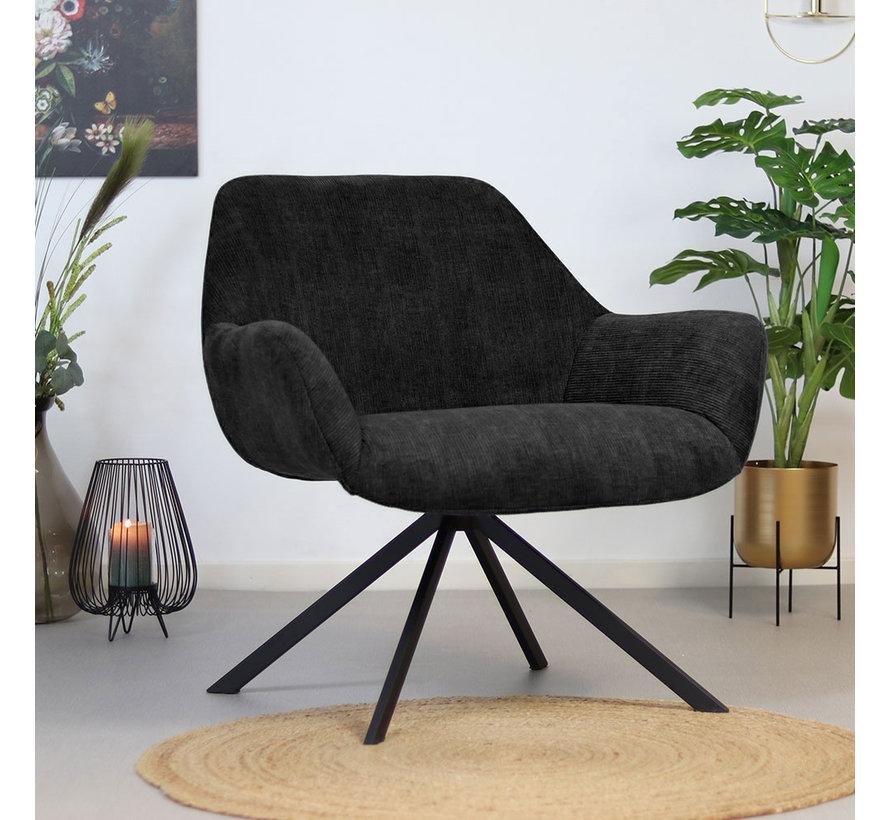 Moderne fauteuil Emily ribstof zwart