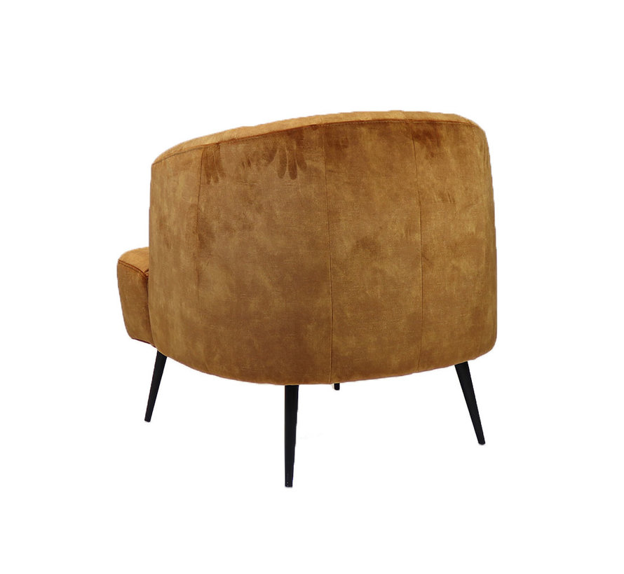 Moderne fauteuil Billy velvet okergeel