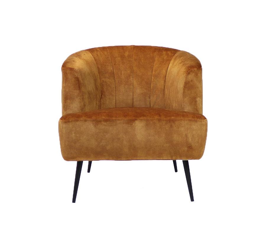 Velvet fauteuil Billy okergeel