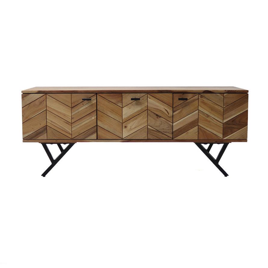 Industrieel tv-meubel visgraat Hunter acaciahout