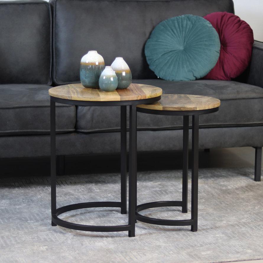 Industriële salontafel set Mica mangohout (set van 2)