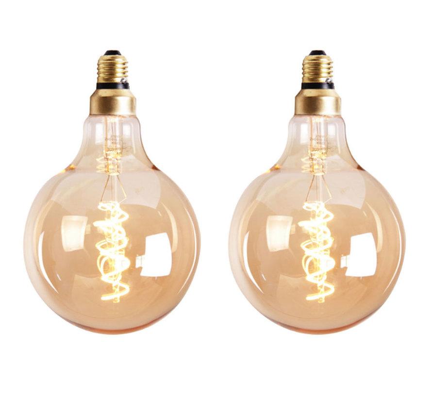 Lichtbron LED bol Ø9,5 cm (set van 2) gold