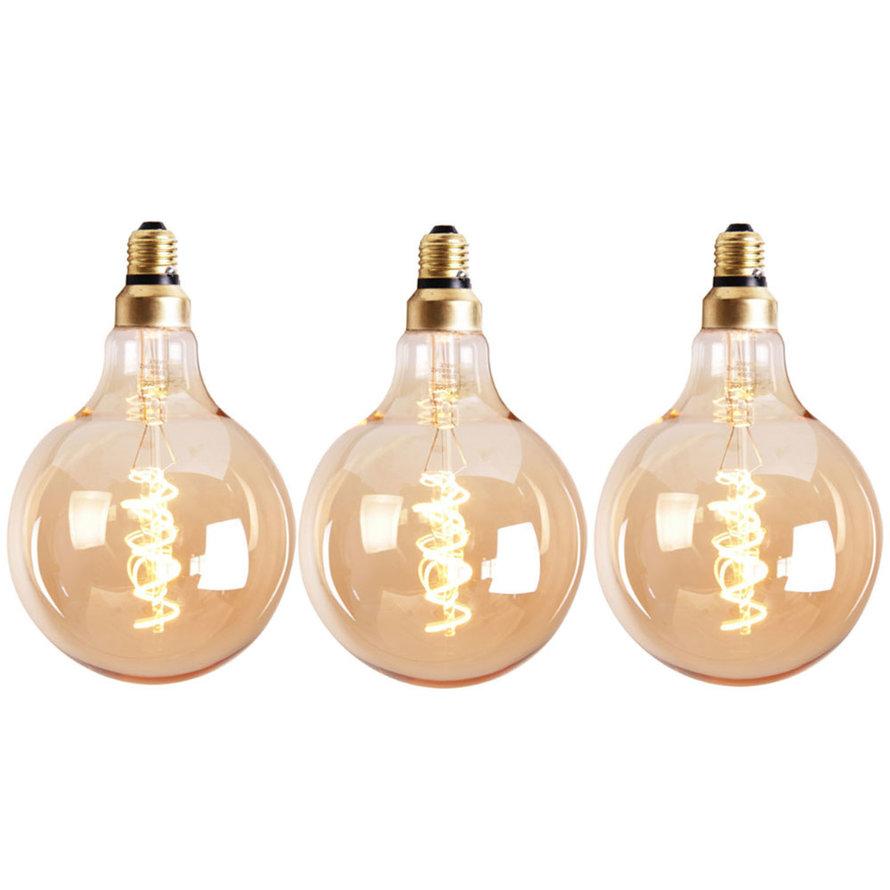 Lichtbron LED bol Ø9,5 cm (set van 3) gold