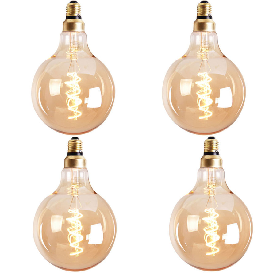 Lichtbron LED bol Ø9,5 cm (set van 4) gold