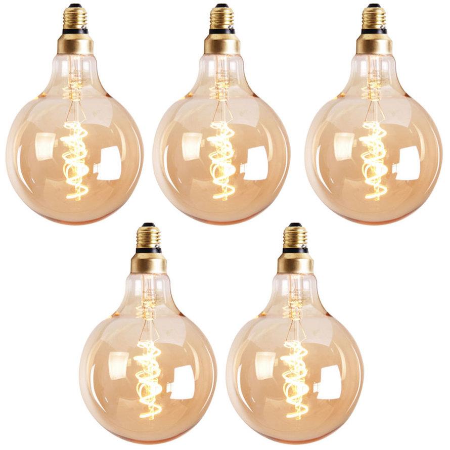 Lichtbron LED bol Ø9,5 cm (set van 5) gold