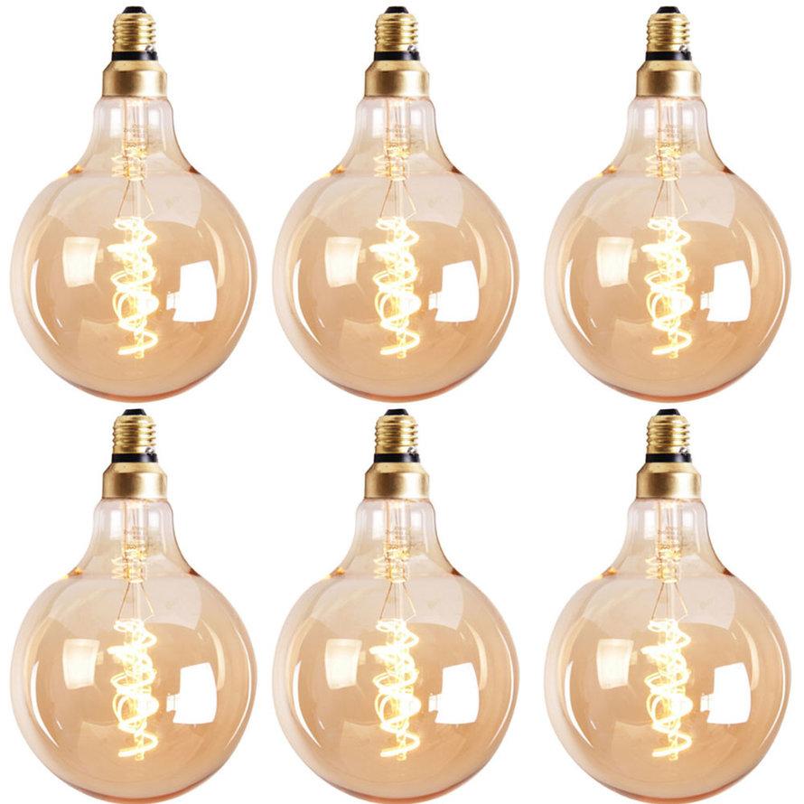 Lichtbron LED bol Ø9,5 cm (set van 6) gold