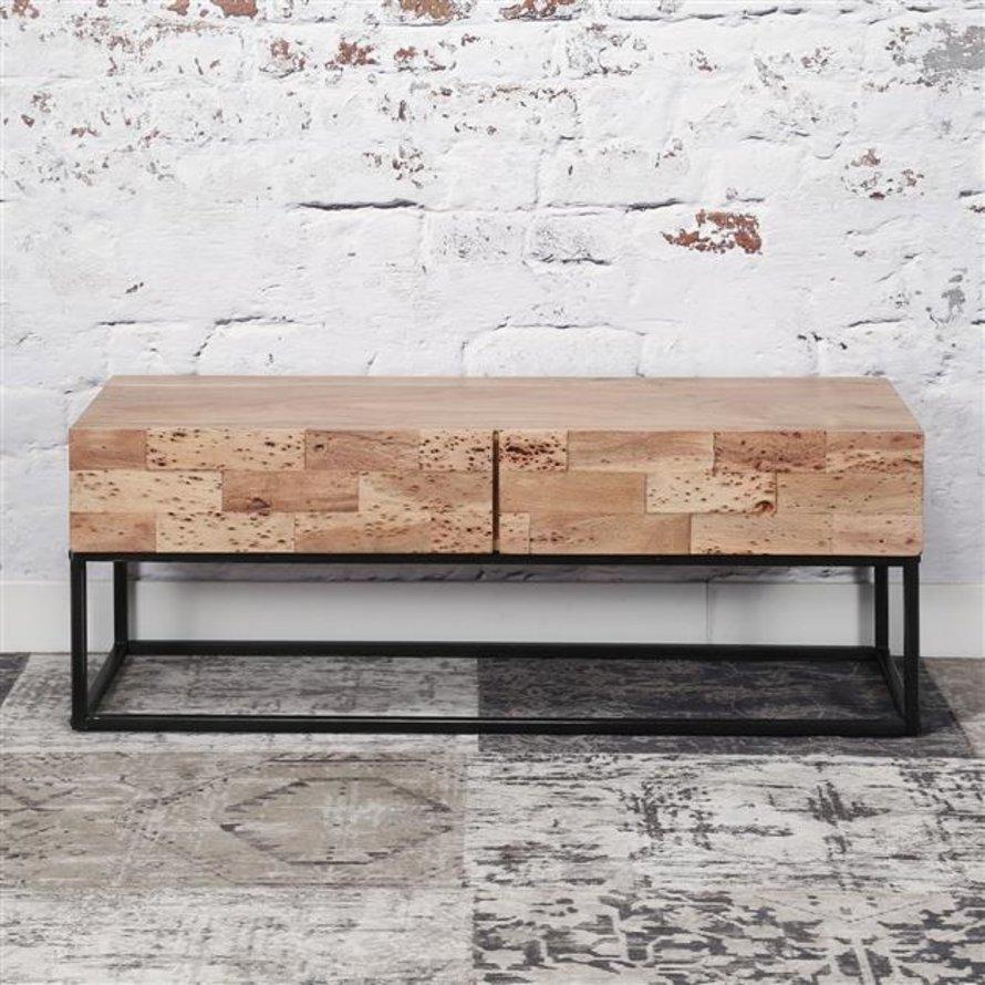 Industrieel tv meubel Brick acaciahout 2 lades